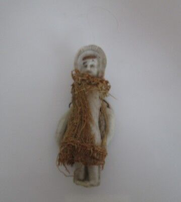 """Vintage Bisque Jointed Arms Frozen Charlotte  2 """" Dressed Doll"""