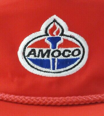 Vintage Amoco Oil Gas Corp Well Drilling Rig Strapback Trucker Hat Bp Standard