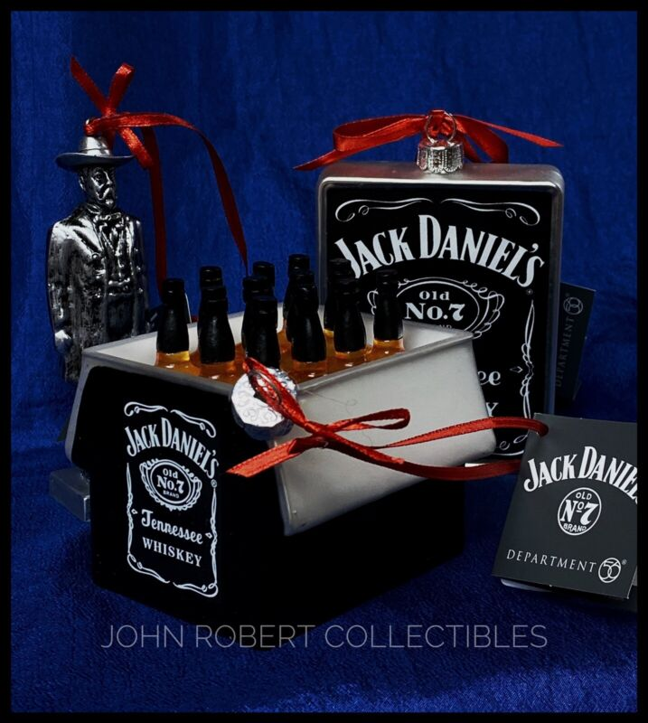 DEPT 56 JACK DANIELS FIGURE FLASK WHISKEY IN CASE CHRISTMAS ORNAMENTS RETIRED