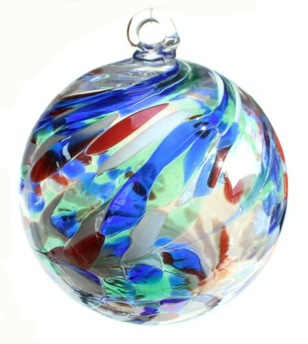 FRIENDSHIP BALL Handcrafted Blown Art Glass Colorful Window Ornament WitchBall