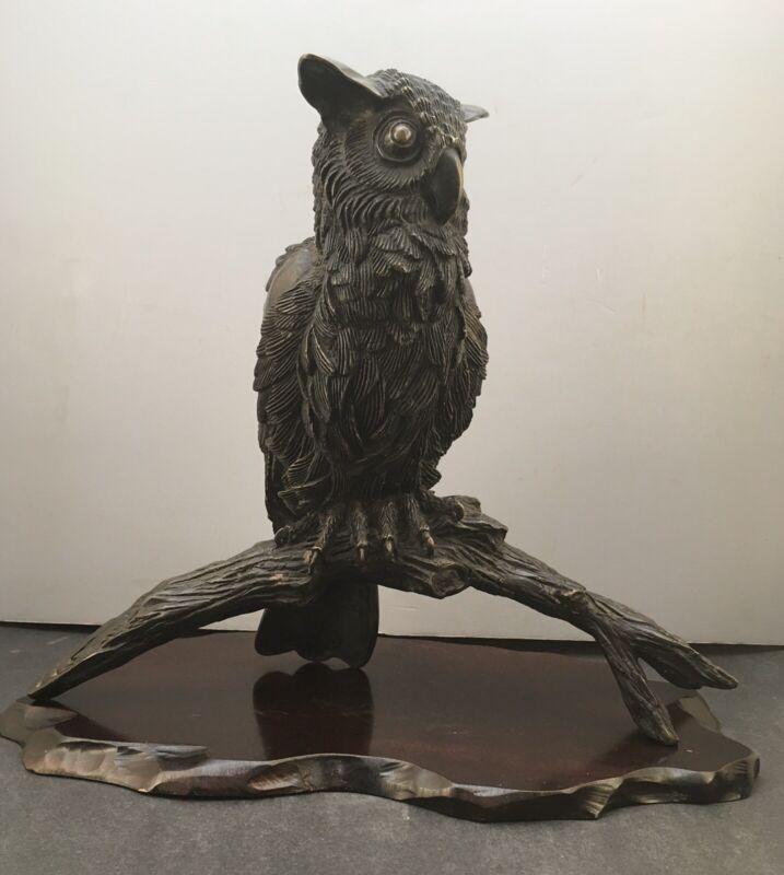 53Rare Japanese Meiji Bronze Okimono - Owl