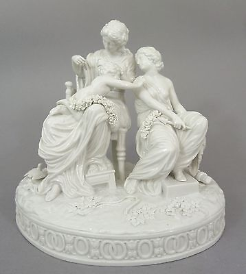 Große Mythologische Figurengruppe von Volkstedt Thüringen, weiß, um 1900, H=26cm