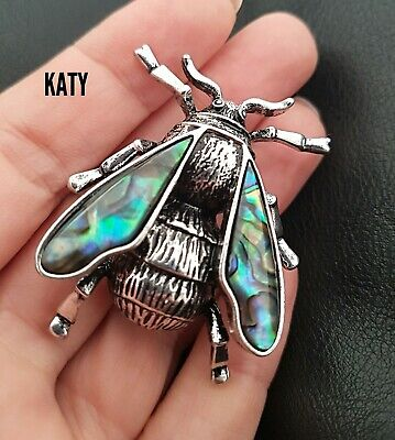 Bee Brooch Pendant Abalone Paua Shell Vintage Silver Bumblebees Insect Pin Gift