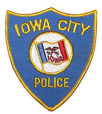 IOWA CITY IOWA IA Police Sheriff Patch STATE FLAG VINTAGE OLD MESH ~