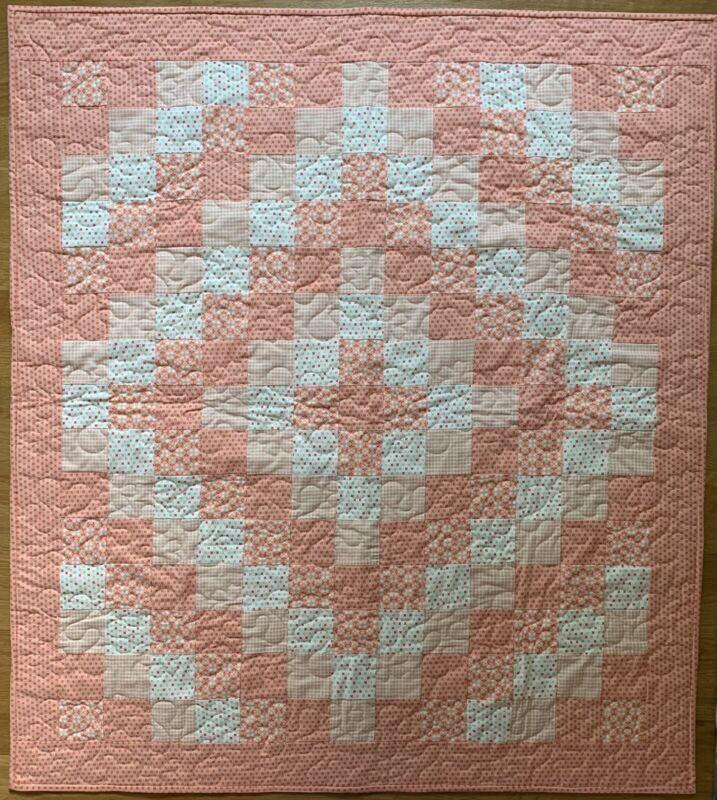 """Handmade Baby Girl's Soft Orange and Cream Baby Girls Crib Quilt, 37"""" x 41"""""""