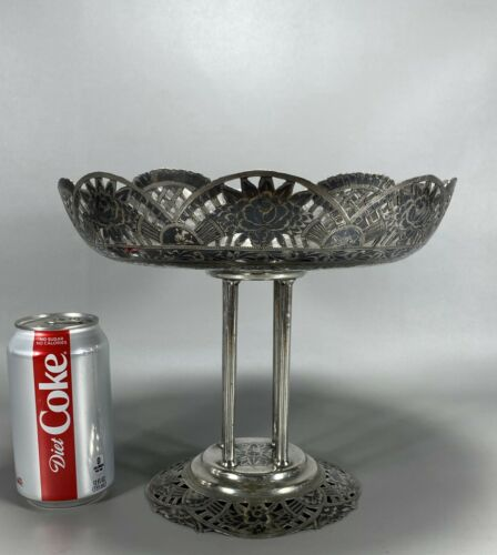 Large Persian Solid Silver Column Center Bowl Niello Decorations Signed 870g