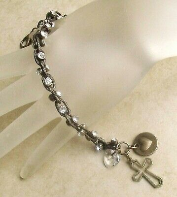 Blessed Charm Sterling Silver Cross Charm Cross Jewelry Religious Charm Silver Cross CZ Charm Spiritual Jewelry Religious Jewelry