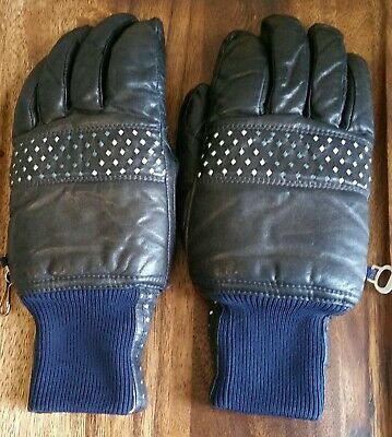 abff8e468 VTG Women's (MED.)Black & Navy blue w/blu&wht dia. Leather Ski Gloves  GRANDOE!