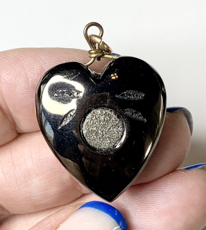 Victorian Heart Pendant, Jet with Pyrite. Antique Mourning Jewelry. Carved Fob