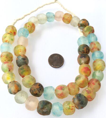 Ghana Handmade Mixed Colored Krobo recycled Glass African trade Beads-Ghana