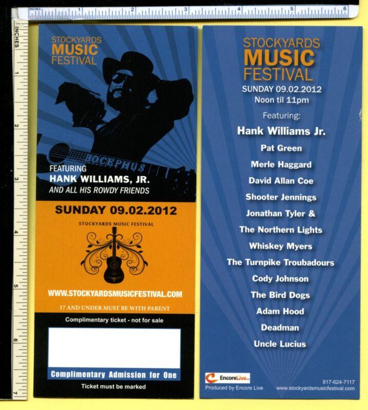 HANK WILLIAMS JR/MERLE HAGGARD Pair of Unused 2012 Concert Tickets; Bocephus