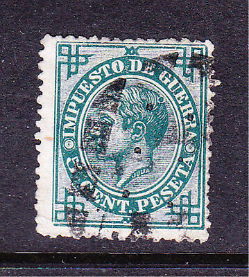 Spain postage stamp -1876 War Tax 5c Blue - Used