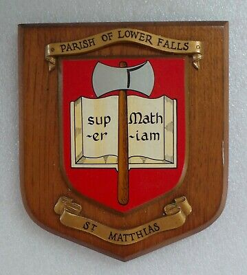 VINTAGE PARISH OF LOWER FALLS - ST. MATTHIAS - CHURCH HERALDIC OAK SHIELD PLAQUE