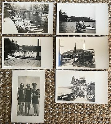 Six Real Photo Postcards People, Boats, River in Clearwater, Minnesota~112616