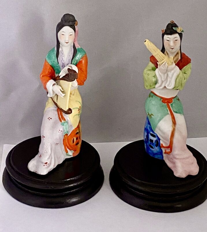 Antique Vintage Porcelain BEAUTIFUL CHINESE WOMEN W/ MUSICAL INSTRUMENTS STATUES