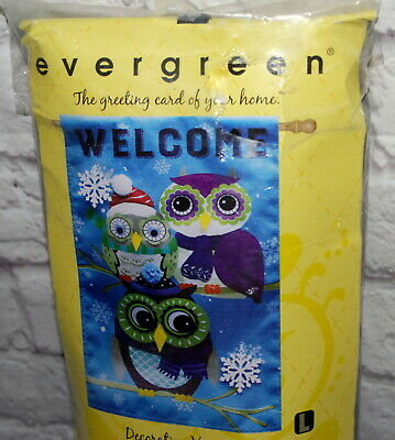 Evergreen Garden House Flag Winter Owls Welcome High Quality w Appliques 28x48