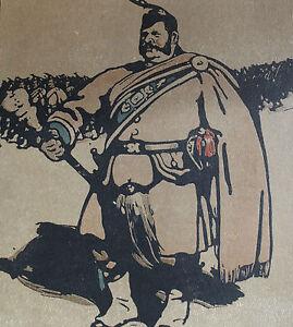 """William Nicholson 1898 Types de Londres London Le Tambour-Major Drum-Major - France - LITHOGRAPHIE ORIGINALE EN COULEURS DAPRS LES BOIS GRAVÉS PAR WILLIAM NICHOLSON 1898 (Paris, Floury) EXTRAITE DE L'OUVRAGE """"LES TYPES DE LONDRES"""" 1898 (imprimé 600 exemplaires sur vélin fort et 40 sur Japon) 1 FEUILLE 34 x 28 CM. LITHO 25,5 x 2 - France"""