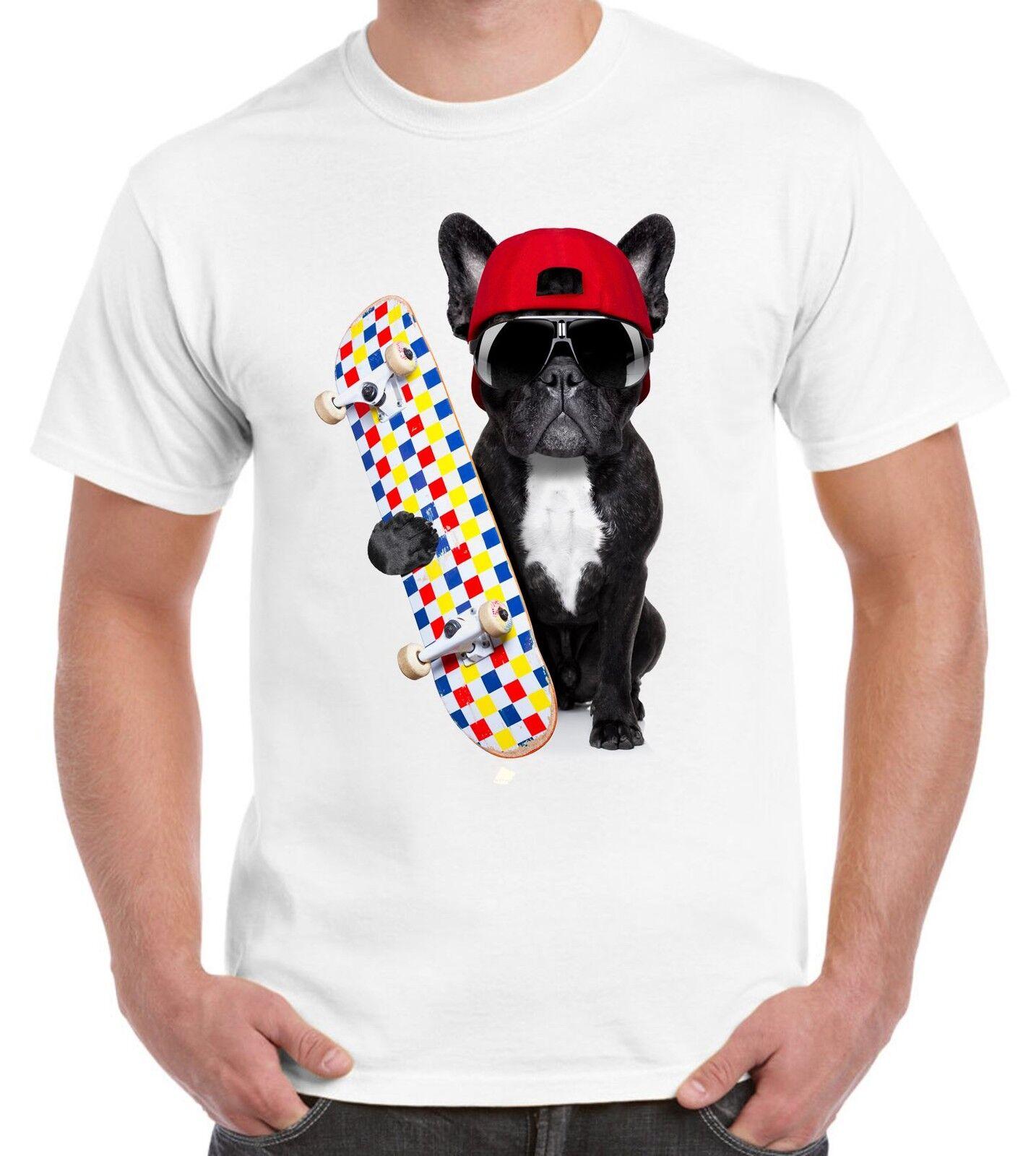 Bulldogs Gift Present Dog French Bulldog Skateboarder Funny Women/'s T-Shirt