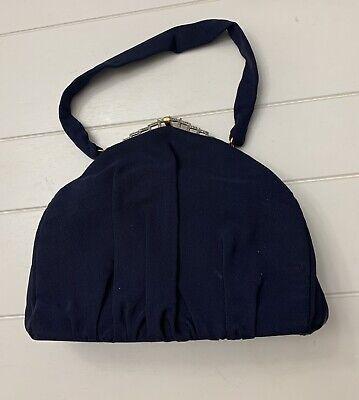 1950s Handbags, Purses, and Evening Bag Styles Vintage 1950's Stefen Navy Blue Handbag Evening Bag With Marcasite Frame $24.99 AT vintagedancer.com