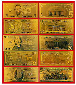 GOLD-US-BANKNOTE-SET-5-10-20-50-100-COLLECTION-99-9-MINT-NEW-BILLS-24K