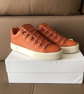 Balenciaga $ 595 Arena Orange Leather Low Top Sneakers In Size 43--10 US !