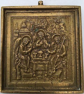 Original alte russische Metallikone Icon Die Heilige Dreifaltigkeit, 19 Jh.