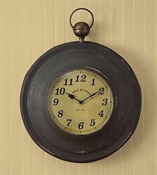 Park Designs Rustic Metal Large Pocket Watch Wall Clock, 16.5D
