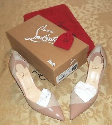 CHRISTIAN LOUBOUTIN~NUDE Tac Clac size US 8 EUR 38 HEELS~RED BOTTOM Patent Suede