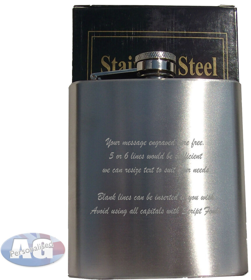 Personalised 6oz Hip Flask Engraved Free, P&P FREE, Best Man / Usher/fathers day