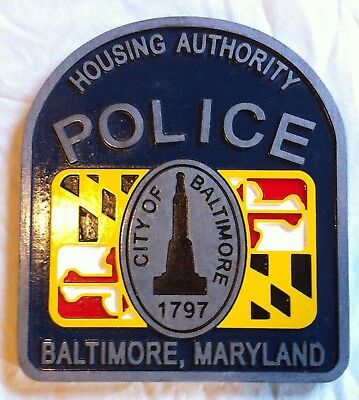Police Baltimore Housing Authority Sign routed carved patch sign Custom