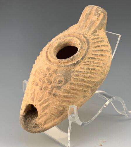 ANCIENT TRANSJORDAN ELONGATED OIL LAMP; HOLY LAND A.D. 500-600 A.D. SCARCE!