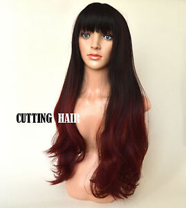 Skin Top Black Red Burgundy Tip Full Wig Long Wavy Layers