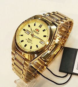 ORIENT 3 Star Automatic Watch Mens Luminous dial Gold Stainless Steel bracelet
