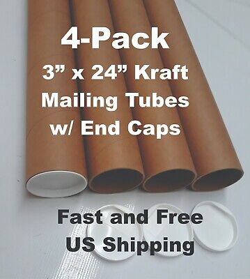 3 X 24 Kraft Mailingshipping Tubes With White End Caps Pack Of 4 Jazzyflex