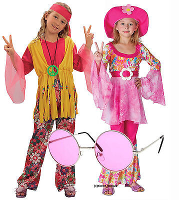 70s Girl Outfit (Hippy Hippie Girl Kids 60s 70s Fancy Dress Costume Outfit Groovy Pink)