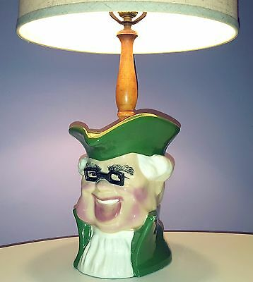 BENJAMIN FRANKLIN TOBY JUG TABLE LAMP VINTAGE JAPAN CERAMIC PITCHER LIGHT