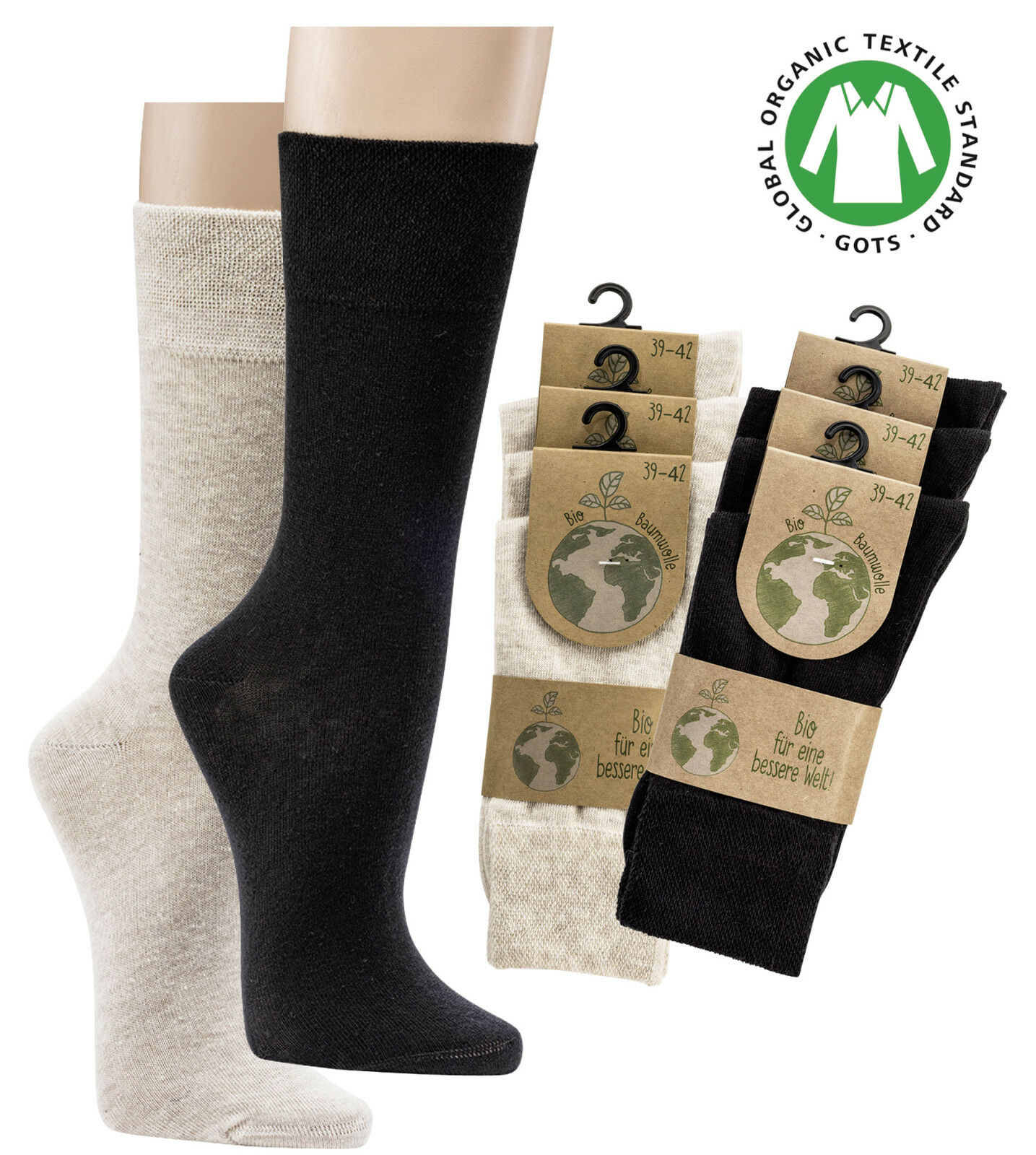 3-15 Paar Socken mit Bio Baumwolle Organic Damen Herren Sneaker Socken GOTS