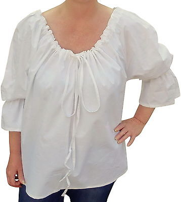 FAIR TRADE COTTON MEDIEVAL GOTHIC LARP COSPLAY PIRATE WENCH BLOUSE - ONE SIZE