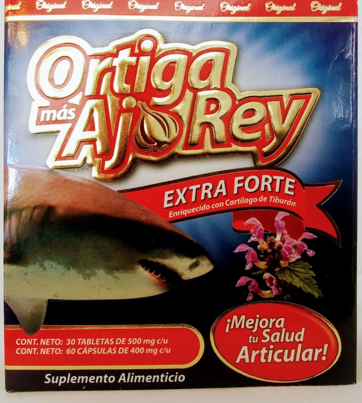 Ortiga Mas Ajo Rey EXTRA FORTE Con Cartilago De Tiburon FREE shipping (90 caps)