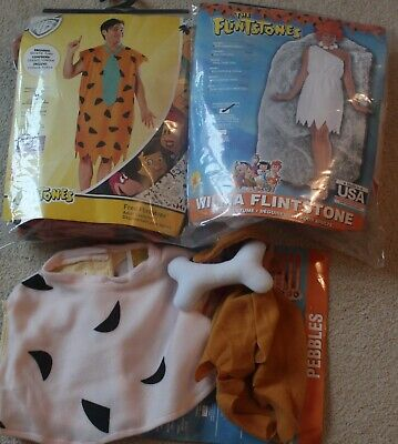 Fred And Wilma Halloween Costume (Fred Wilma and Pebbles Flintstones Costume Set lot of 3 Halloween)