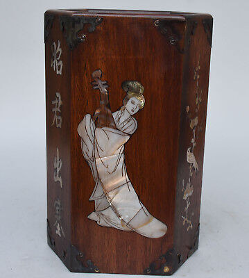 Chinese rosewood Inlay Shell Belle Beauty ZhaoJun Brush Pot pencil Holder vase