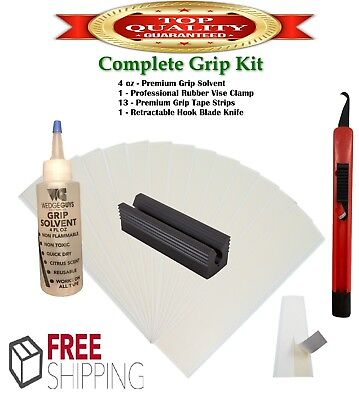 Golf Club Supplies (Golf Club GRIP KIT 13 Tape Strips (2x10), Solvent, Vise Clamp and Hook)