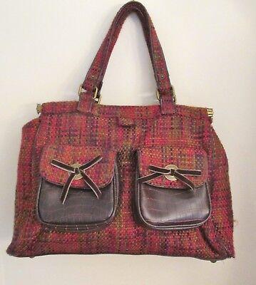 GAP Plaid Tweed Handbag / Satchel, Large, Red, Gold, Purple, 2 Front Pockets EUC Large Front Pocket Satchel Handbag