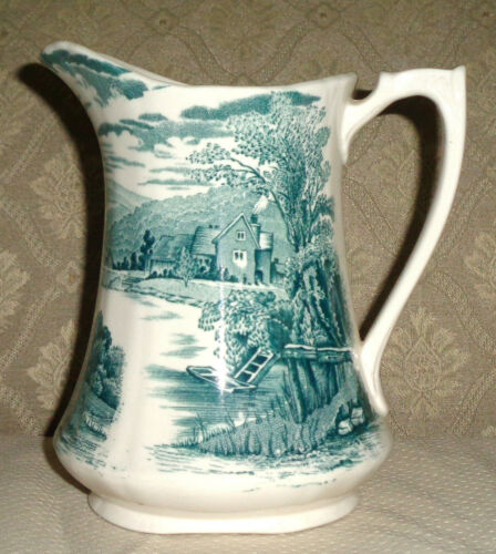 "Alfred Meakin Tintern Green 6"" 20 Oz. Milk Pitcher Staffordshire Transferware"