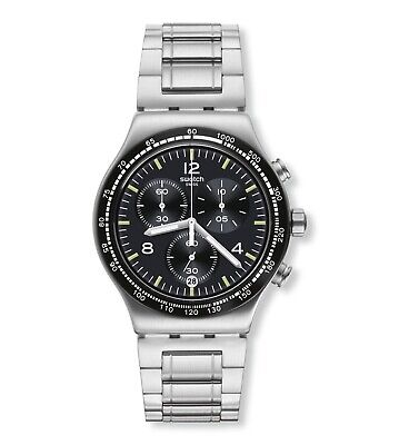 New Swatch Irony Night  Flight Steel Silver Chronogragh Date Watch YVS444G $200
