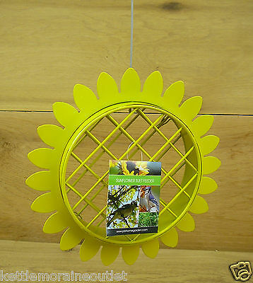 Pinebush Sunflower Shaped Metal Suet Feeder w/ Hanging Cable Wild Bird Feeder
