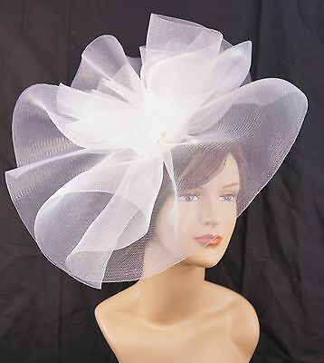 New Church Derby Wedding Fascinator Dress Hat with Headband FS-02 White