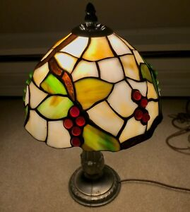 Tiffany style table lamp with a few cracked panels