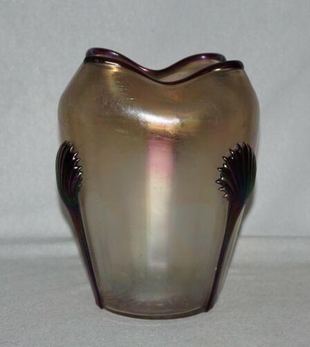 Bohemian Kralik Iridescent Art Glass Vase, Purple Applied Tadpoles & Rim