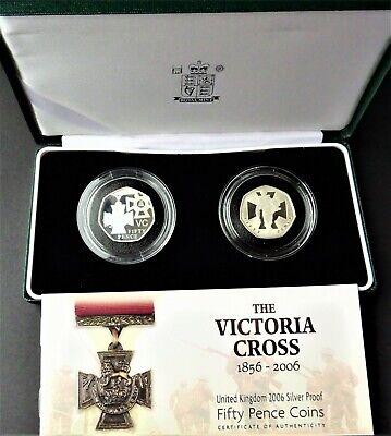 UK Elizabeth II  2 X 50p Silver Proof Victoria Cross Fifty Pence Coin Set & COA